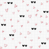 Hearts and bows seamless pattern Stock Image