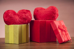 Hearts in box Stock Images