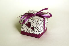 Hearts, box, gift. Packing decorative box, gifts for the holidays Royalty Free Stock Photography