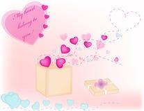 Hearts box declaration. Hearts box and love declaration vector illustration