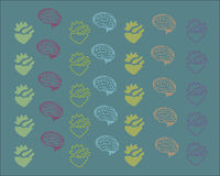 Hearts and brains pattern Stock Photos