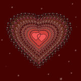 Hearts with brilliants. On the dark background Stock Photo