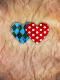He and she hearts on brown paper Royalty Free Stock Image