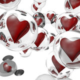 Hearts in a bubbles. Abstract background. Abstract background with 3D hearts Royalty Free Stock Image