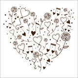 Hearts bubbles and tunes in a silhouette of heart. Stock Image