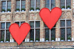 Hearts on building Royalty Free Stock Photos