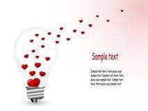 Hearts in bulb Royalty Free Stock Photos