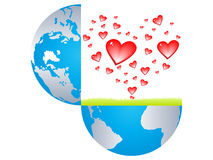 Hearts bursting from the earth Royalty Free Stock Image