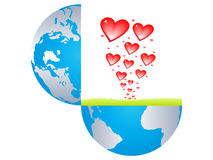 Hearts bursting from the earth Stock Photo
