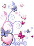 Hearts and butterflies Royalty Free Stock Image