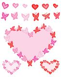 Hearts and butterflies Stock Images
