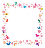 Hearts and butterflies cartoon frame on white Stock Images
