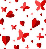 Hearts and butterflies stock illustration