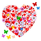 Hearts Butterflies Shows Valentine Day And Animals Royalty Free Stock Image