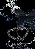 Hearts and butterfly. Abstract grunge background incorporating hearts and a butterfly, in white and blue on a black background Royalty Free Stock Images