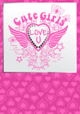 Hearts and butterfly crest. Vector illustration of a girls print with a matching repeat pattern Stock Photography