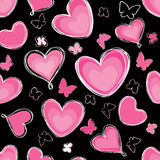 Hearts and butterfly Seamless background paintbrus Stock Photo