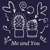 Hearts and cactus. Cute love or friendship cactus couple on valentine doodle card with affection hearts in white line stock illustration