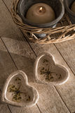 Hearts and Candle Royalty Free Stock Photo