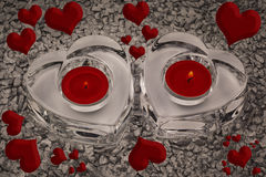 Hearts and Candlelights. Candlelights With Hearts For Loving Couple Royalty Free Stock Image