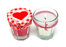 Hearts and candles Royalty Free Stock Photography