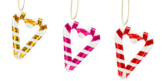 Hearts from candy canes Royalty Free Stock Images