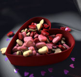 Hearts. Candy in the form of hearts sprinkled into the box Royalty Free Stock Photography