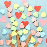 Hearts with candy Valentine Background Stock Image