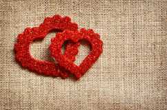 Hearts on canvas Royalty Free Stock Image