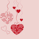Hearts card. Illustration with stylized hearts in red, useful for st.valentine day or wedding anniversary card. Vector Stock Images