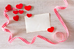 Hearts card ribbon red white Stock Image