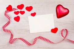 Hearts card ribbon red white Royalty Free Stock Photos