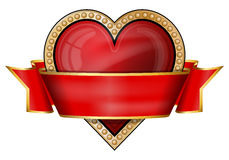 Hearts. card suit icons with ribbon Stock Photo