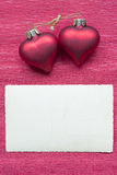 Hearts with card Stock Photos