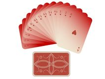 Hearts cards fan with deck isolated on white Royalty Free Stock Photo