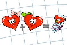 Hearts Cartoon Family. Color Version Royalty Free Stock Images