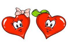 Hearts Cartoon Illustration. For lovers Stock Photos