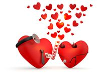 Hearts: cartoon man and woman Royalty Free Stock Images