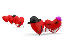 Hearts. Cartoon persons Royalty Free Stock Image