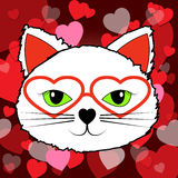 Hearts Cat. Indicating In Love And Felines Stock Photo
