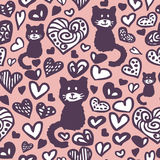 Hearts and cats seamless pattern Royalty Free Stock Image