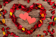Hearts in centre of red potpourri heart Royalty Free Stock Photography