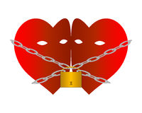 Hearts chained. Two hearts chained with chains and padlock Royalty Free Stock Photo
