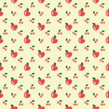 Hearts, cherry, apples. Seamless background with cherry and apples Vector Illustration