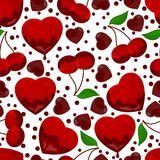 Hearts and cherry in chocolate, seamless pattern Stock Photo