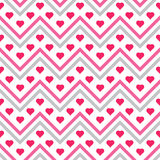 Hearts chevron seamless patterns Royalty Free Stock Photography