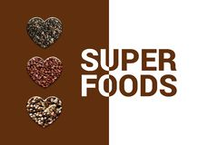 Hearts with chia seeds, red quinoa grains and blended quinoa. Four heart shapes with Text superfoods stock photo