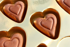 Hearts of chocolate Stock Photos