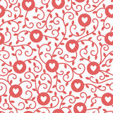 Hearts, circles and tendrils vector seamless pattern. Hearts, circles and tendrils with leaves vector seamless pattern. Red on white backdrop Stock Images