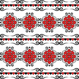 Hearts with classic vintage Victorian ornaments striped seamless pattern vector retro old style background Valentines Day or weddi Royalty Free Stock Image